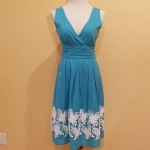 Dresses & Skirts - Blue Sleeveless Deep V-Neck A-Line Dress Size S